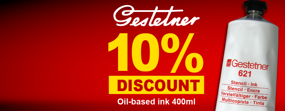 Get a 10% discount when you buy Gestetner 621 Oil-based Ink box of 25